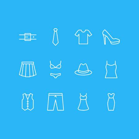 Vector Illustration Of 12 Clothes Icons. Editable Pack Of Sarafan, Fedora, Strap And Other Elements.