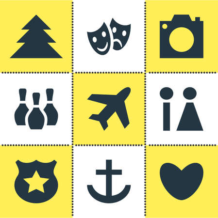 capturing: Vector Illustration Of 9 Map Icons. Editable Pack Of Skittles, Aircraft, Masks And Other Elements. Illustration