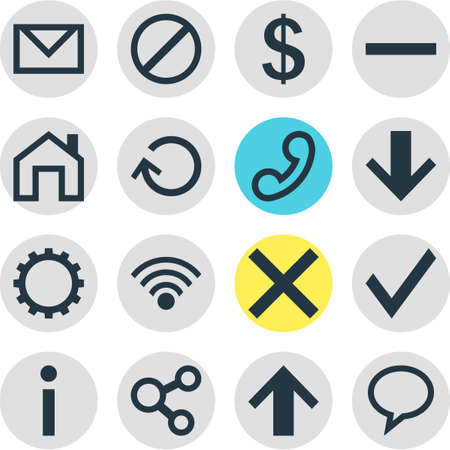 Vector Illustration Of 16 Interface Icons. Editable Pack Of Confirm, Cordless Connection, Info And Other Elements. Illustration