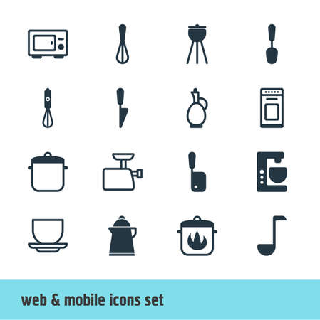 coking: Vector Illustration Of 16 Cooking Icons. Editable Pack Of Barbecue, Oven, Butcher Knife And Other Elements.
