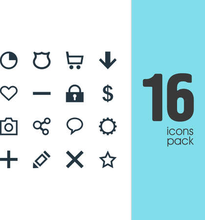 Vector Illustration Of 16 User Icons. Editable Pack Of Pen, Downward, Heart And Other Elements.