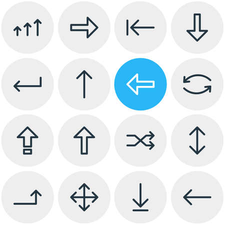 Vector Illustration Of 16 Sign Icons. Editable Pack Of Right, Randomize, Update Elements.