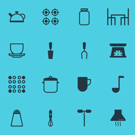 Vector Illustration Of 16 Kitchenware Icons. Editable Pack Of Tea Cup, Extractor Appliance, Can And Other Elements.