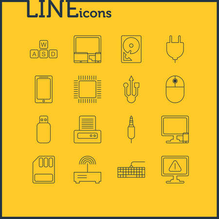 domain: Vector Illustration Of 16 Notebook Icons. Editable Pack Of Usb Icon, Input Jack, Microprocessor And Other Elements.