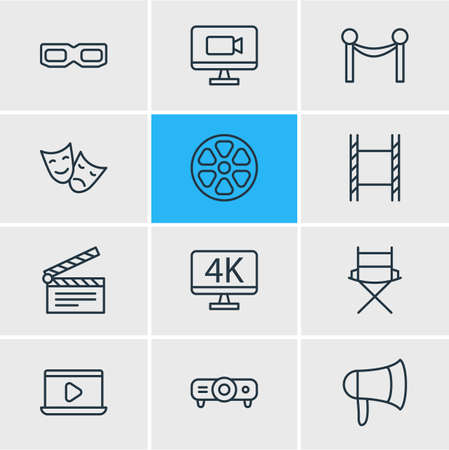 contrast resolution: Vector Illustration Of 12 Film Icons. Editable Pack Of Clapper, Monitor, Resolution And Other Elements.