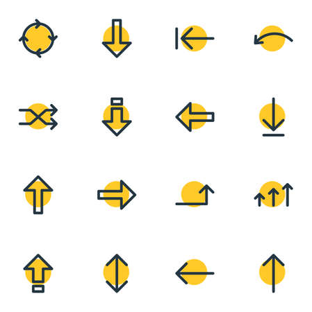 Vector Illustration Of 16 Sign Icons. Editable Pack Of Circle, Download, Raise And Other Elements. Illustration