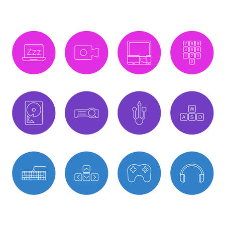 Vector Illustration Of 12 Laptop Icons. Editable Pack Of Movie Cam, Hard Drive Disk, Number Keypad And Other Elements.