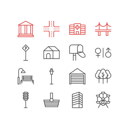 domicile: Vector Illustration Of 16  Icons. Editable Pack Of Mail Box, Home, Parking And Other Elements.