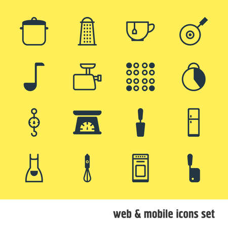 spring balance: Vector Illustration Of 16 Restaurant Icons. Editable Pack Of Timekeeper, Spatula, Mug And Other Elements.