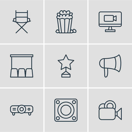 Vector Illustration Of 9 Cinema Icons. Editable Pack Of Slideshow, Megaphone, Loudspeaker And Other Elements.