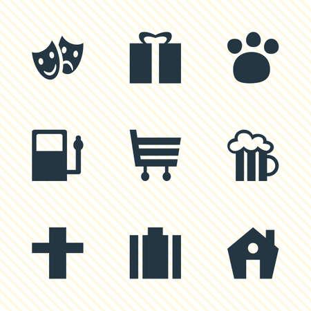 9 マップ アイコンのベクター イラストです。給油、ビールのジョッキ、ショッピング カートおよびその他の要素の編集可能なパック。