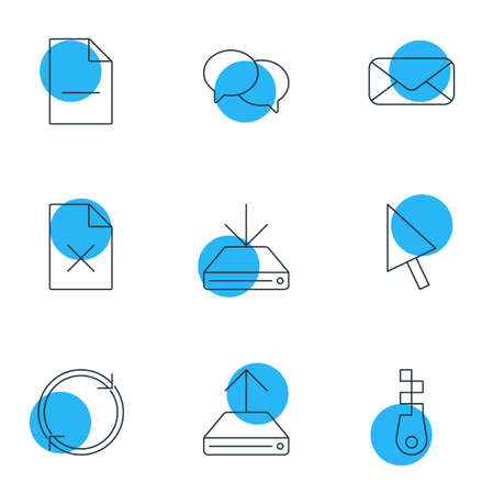 wap: Vector Illustration Of 9 Internet Icons. Editable Pack Of Delete Data, Hdd Sync, Talking And Other Elements.