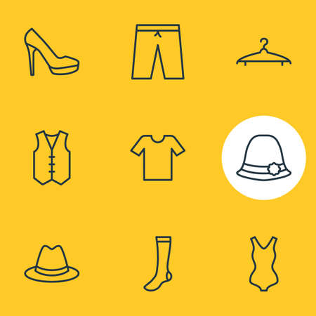 suspender: Vector Illustration Of 9 Dress Icons. Editable Pack Of Fedora, Waistcoat, Panama And Other Elements.