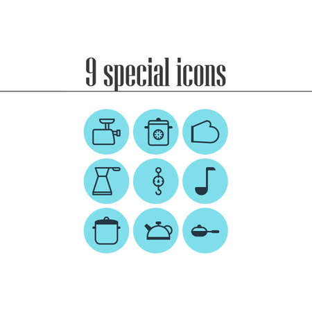 browning: Vector Illustration Of 9 Restaurant Icons. Editable Pack Of Teakettle, Pan, Steamer And Other Elements. Illustration