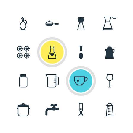 Vektor-Illustration von 16 Kochen von Icons. Bearbeitbare Packung Dose, Esslöffel, Kittel und andere Elemente. Standard-Bild - 81949847