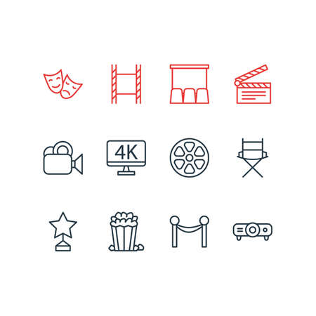 Vector Illustration Of 12 Cinema Icons. Editable Pack Of Clapper, Hall, Reward And Other Elements. Illustration