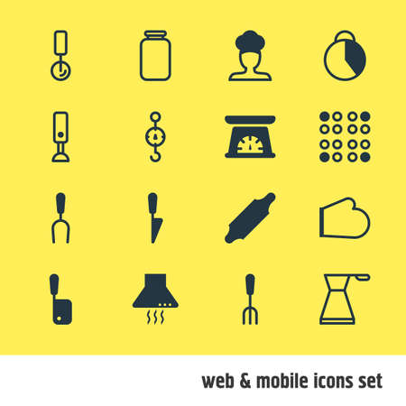 stab: Vector Illustration Of 16 Cooking Icons. Editable Pack Of Can, Butcher Knife, Mixer And Other Elements. Illustration