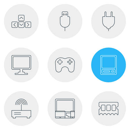 minicomputer: Vector Illustration Of 9 Notebook Icons. Editable Pack Of Screen, Gamepad, Socket And Other Elements.