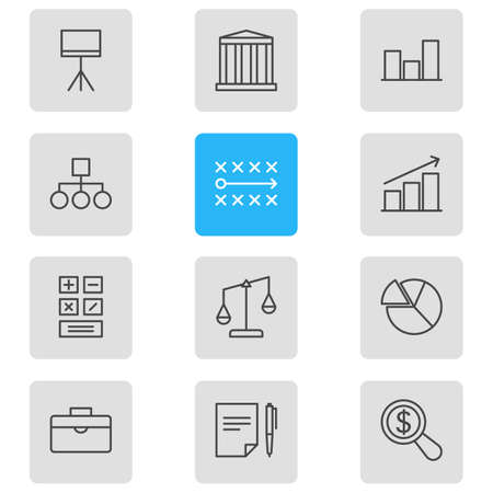 scale: Vector Illustration Of 12 Management Icons. Editable Pack Of Board Stand, Magnifier, Portfolio Elements. Illustration