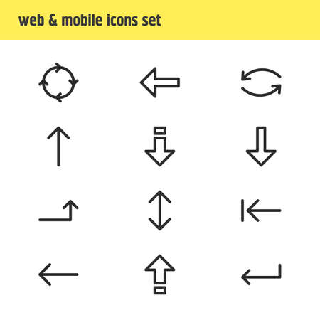 Vector Illustration Of 12 Sign Icons. Editable Pack Of Download, Circle, Raise And Other Elements. Illustration