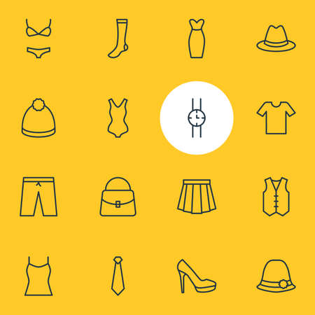 Vector Illustration Of 16 Dress Icons. Editable Pack Of Sandal, Swimsuit, Hand Clock Elements.