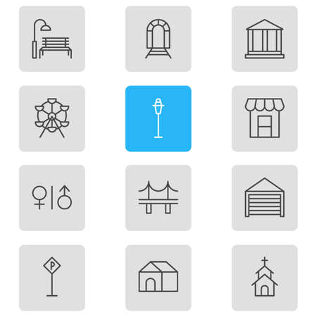 domicile: Vector Illustration Of 12 City Icons. Editable Pack Of Ferris Wheel, Building, Subway And Other Elements. Illustration