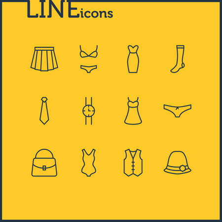 Vector Illustration Of 12 Clothes Icons. Editable Pack Of Handbag, Swimsuit, Swimwear Elements.
