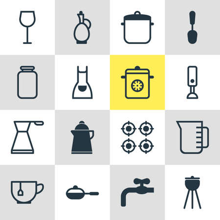 homemaker: Vector Illustration Of 16 Kitchenware Icons. Editable Pack Of Carafe, Kettle, Pan And Other Elements. Illustration