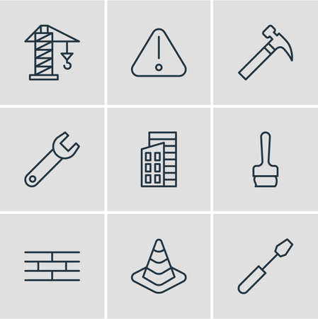 domicile: Vector Illustration Of 9 Structure Icons. Editable Pack Of Paintbrush, Lifting, Apartment And Other Elements. Illustration