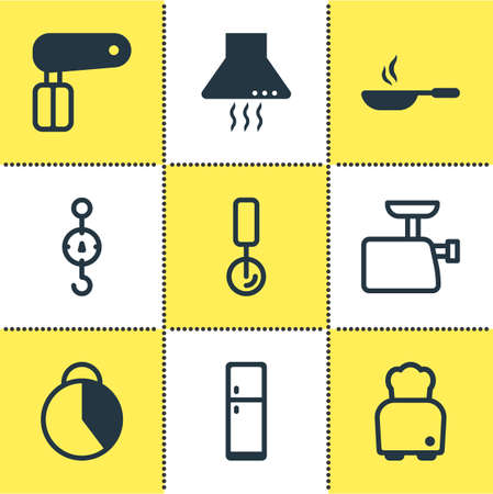 Vector Illustration Of 9 Kitchenware Icons. Editable Pack Of Extractor Appliance, Bread, Mincer And Other Elements. Illustration