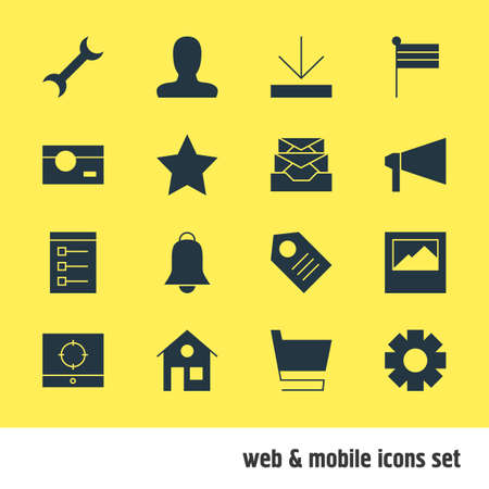capturing: Vector Illustration Of 16 Web Icons. Editable Pack Of Trolley, Notification, Upload And Other Elements.