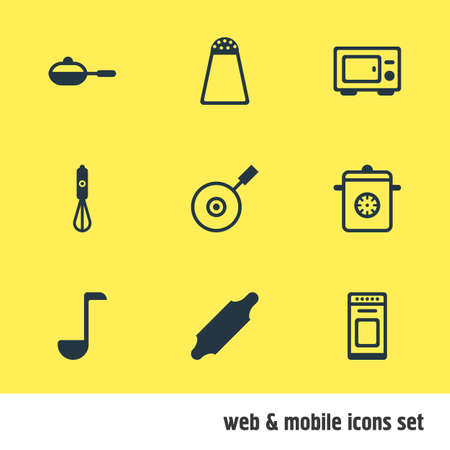 browning: Vector Illustration Of 9 Restaurant Icons. Editable Pack Of Oven, Pan, Bakery Roller And Other Elements.