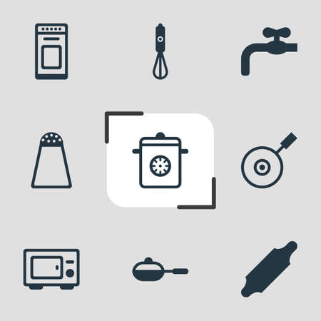 coking: Vector Illustration Of 9 Cooking Icons. Editable Pack Of Oven, Faucet, Pan And Other Elements.