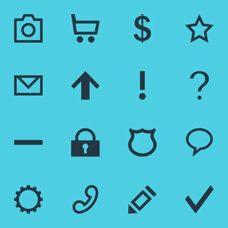 Vector Illustration Of 16 Member Icons. Editable Pack Of Talk Bubble, Confirm, Cogwheel And Other Elements. Illustration