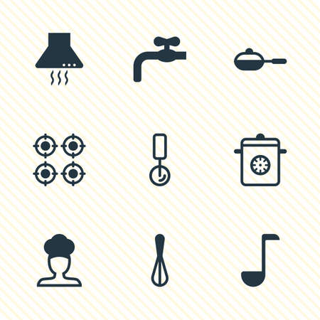 Vector Illustration Of 9 Kitchenware Icons. Editable Pack Of Corolla, Round Slicer, Pan And Other Elements. Illustration