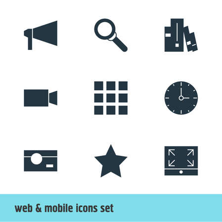 maximize: Vector Illustration Of 9 Online Icons. Editable Pack Of Video Camera, Bookshelf, Maximize And Other Elements.