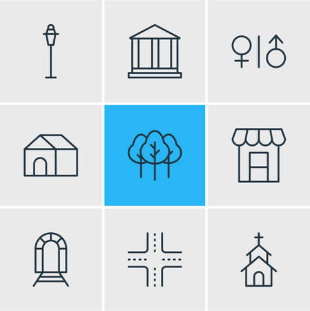 Vector Illustration Of 9 City Icons. Editable Pack Of Toilet, Home, Intersection And Other Elements. Ilustração