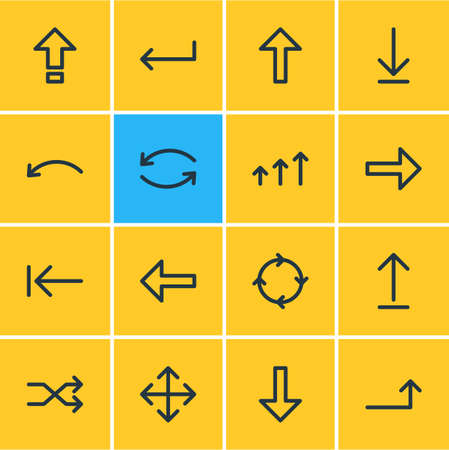 Vector Illustration Of 16 Arrows Icons. Editable Pack Of Turn, Increase, Submit And Other Elements.