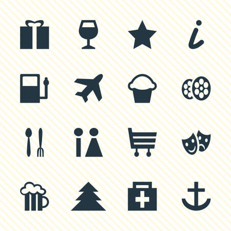 roadsign: Vector Illustration Of 16 Map Icons. Editable Pack Of Cake, Toilet, Shopping Cart And Other Elements.