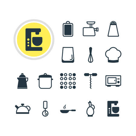 housewares: Vector Illustration Of 16 Cooking Icons. Editable Pack Of Chopping Desk, Frying Pan, Wine Opener And Other Elements. Illustration