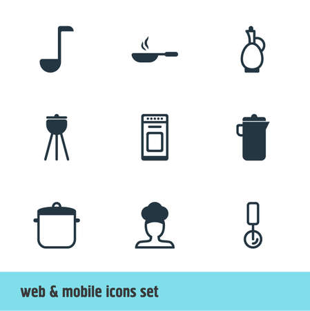 saute: Vector Illustration Of 9 Cooking Icons. Editable Pack Of Carafe, Soup Spoon, Frying Pan And Other Elements.