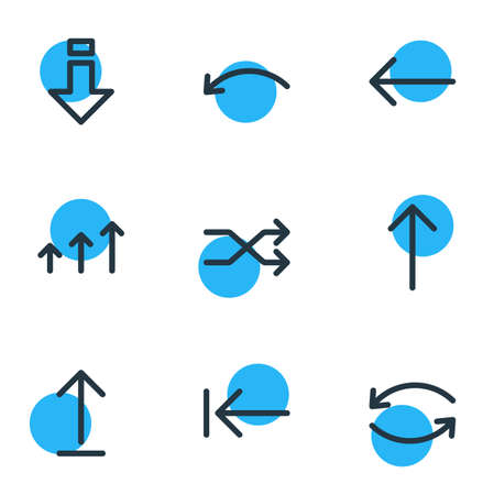 Vector Illustration Of 9 Direction Icons. Editable Pack Of Undo, Update, Submit And Other Elements. Illustration