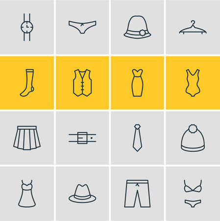 Vector Illustration Of 16 Clothes Icons. Editable Pack Of Swimsuit, Cravat, Apparel And Other Elements.