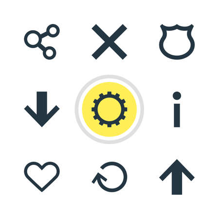 Vector Illustration Of 9 Interface Icons. Editable Pack Of Info, Publish, Top And Other Elements.