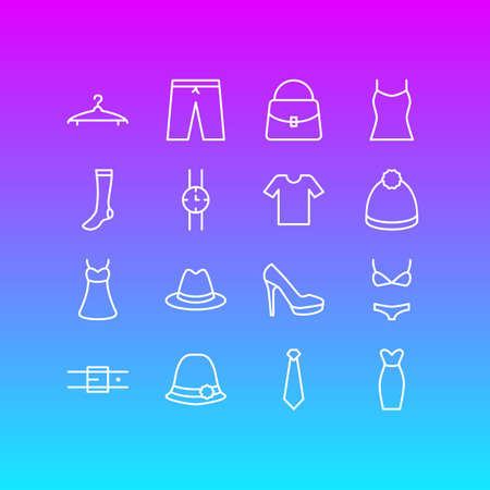 Vector Illustration Of 16 Clothes Icons. Editable Pack Of Cravat, Pompom, Fedora And Other Elements. Illustration