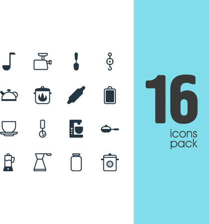 Vector Illustration Of 16 Restaurant Icons. Editable Pack Of Chopping Desk, Can, Tablespoon And Other Elements.