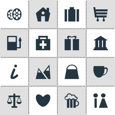 statute: Vector Illustration Of 16 Check-In Icons. Editable Pack Of Drugstore, Scales, Beer Mug And Other Elements. Illustration
