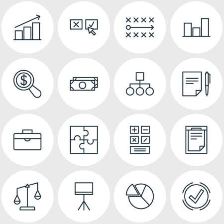 tactics: Vector Illustration Of 16 Trade Icons. Editable Pack Of Tactics, Board Stand, Portfolio Elements. Illustration