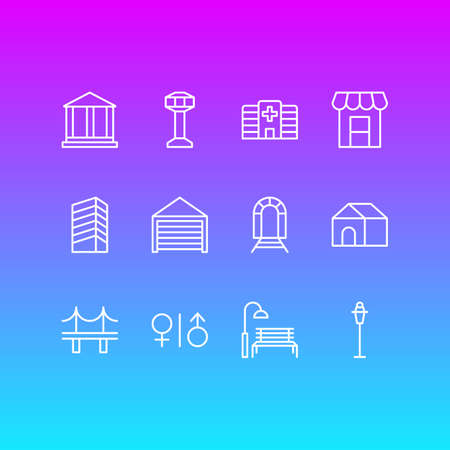 Vector Illustration Of 12 Public Icons. Editable Pack Of Skyscraper, Bench, Control Tower And Other Elements.