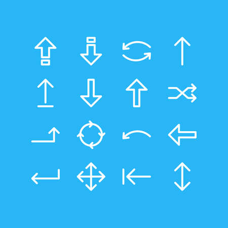Vector Illustration Of 16 Arrows Icons. Editable Pack Of Direction, Turn, Shrift And Other Elements.